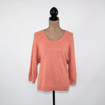 Pullover Sweater Women Medium Cotton Wool Salmon Coral 3/4 Sleeve Cable Knit Sweater Womens Clothing