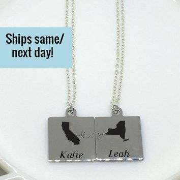 Best Friend Necklace Set, Long Distance, Long Distance Relationship, Deployment Necklace, Deployment, Long Distance, Friendship Necklace