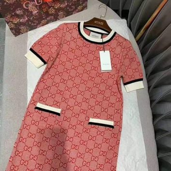 """Gucci""Woman's Leisure  Fashion Letter Printing Knitting Spell Color Short Sleeve Tops Dress"