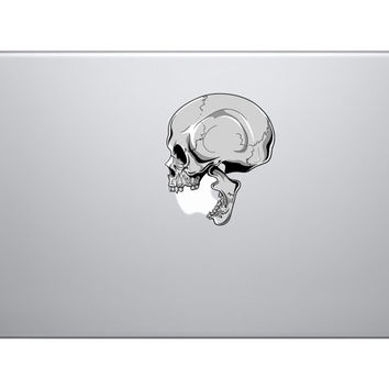 "Human Skull Biting Apple Logo Full Colour Vinyl Decal Sticker - Skin MacBook Pro Air 13"" 15"" 17"" iphone Halloween Zombie Walking Dead  jeep"