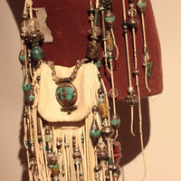 showdiva designs RoCk n RoLL Leather Medicine Bag Purse Belt Fringe with Sterling n Turquoise Beading