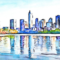 "Austin Texas Skyline, Original Watercolor painting, 9x12"", Best selling Landscape, Cityscape, Downtown Austin TX, Lady Bird Lake boardwalk"