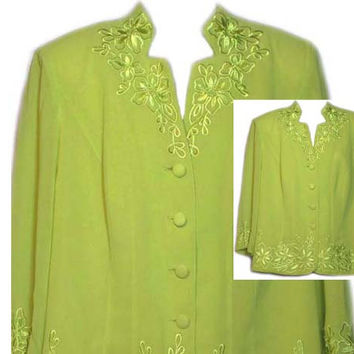 Vintage Lime Green Machine Embroidered Button Front Blouse - Size XLarge