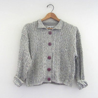STOREWIDE SALE...80s Gray cardigan Sweater / size M