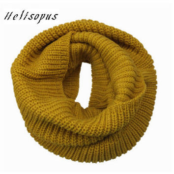 Helisopus Warm Infinity Two Circle Cable Knit Cowl Neck Long Men Women Unisex Winter Knitting Wool Collar Neck Warmer Scarf