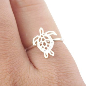 Sea Turtle Tortoise Shaped Adjustable Ring in Silver