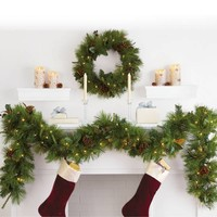 6-Foot Pre-Lit Magnolia Garland with Clear Lights (Set of 2)