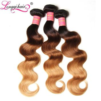Longqi Hair T1B/4/27 Ombre Brazilian Hair Weave Bundles Body Wave 3 Tone Black Brown Blonde Human Hair Weft 16-26 Inch Non-Remy