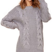 Solid Color Cable-Knit Sweater Dress