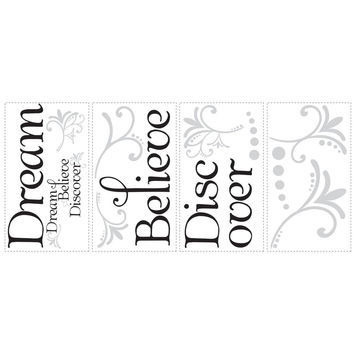 Dream, Believe, Discover Quote Wall Decals