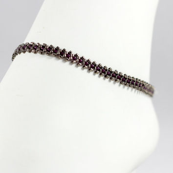 Silver Purple Beaded Anklet Delica Seed Bead Jewelry