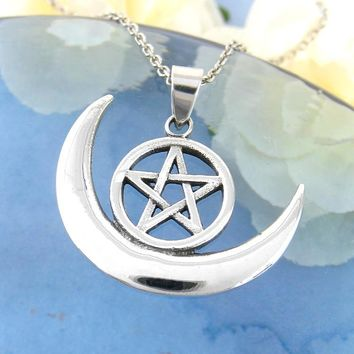 Pentacle with Upturned Crescent Moon Necklace