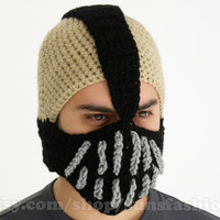 Bane Mask Batman Crochet Beanie Hat Slouch Mens Handmade Winter Men Snowboard Ski Hat unisex comics fashion