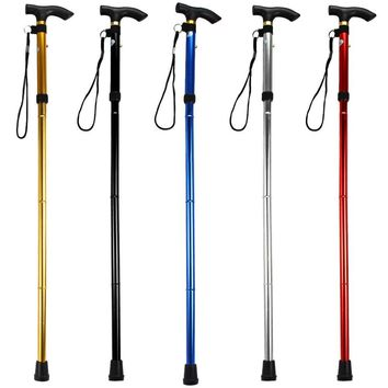 5 Colors Walking Stick Adjustable 4 Section Aluminum Alloy Metal Folding Cane Walking Sticks With Non Slip Rubber Base