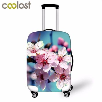 High Elastic Luggage Protective Cover Beautiful Flowers Print Travel Accessories For 18-28 Inch Luggage Carrier Suitcase Cover