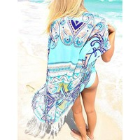 Tropical Turquoise Beach Cover Up
