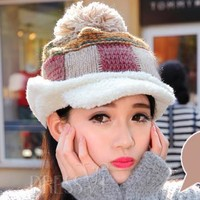 Plaid Earflap Thick Knitted Hat
