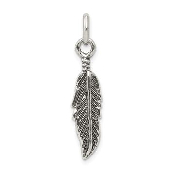 925 Sterling Silver Antiqued Feather Charm and Pendant