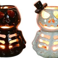 Top Hat Skeleton Lantern (Pack of 2) - Ceramic Halloween Candle Holder Acessory