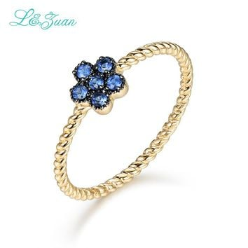 L&Zuan 14K Gold 100% Natural Sapphire Rings For Women Small Flower Ring Fine Jewelry Trendy Accessories Party Best Gift 0019-3