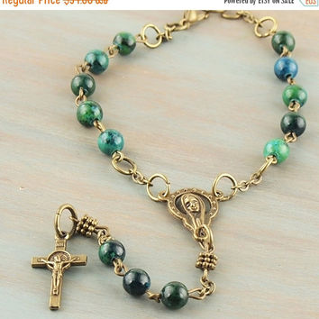 On Sale Stone Auto Car/Rear View Mirror Rosary Azurite Malachite Antique Bronze Prayer Beads Natural Gemstone Jewelry