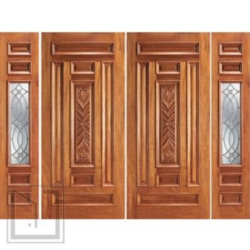 Prehung Mahogany 1 Lite Front Double Door Two Sidelights