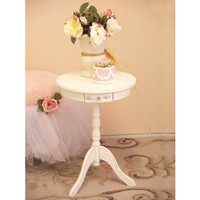 Bella Collection White Round Top Table with Drawer - Coffee & End Tables - FURNITURE