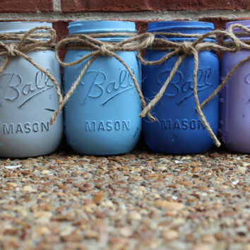 Custom Hand-Painted Vintage Mason Jar, Vase, Makeup Brush Holder, Organizer, 16oz, Pint, Distressed
