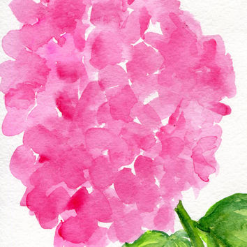 Pink Hydrangeas watercolors paintings original, hydrangea floral art, pink hydrangea original watercolor painting, hydrangea decor