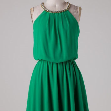 Green Dress with Rhinestone Detail