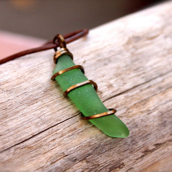 Sea Glass Jewelry made in Hawaii, wire wrapped seaglass pendant on leather necklace for men, North Shore Oahu Mens Jewelry