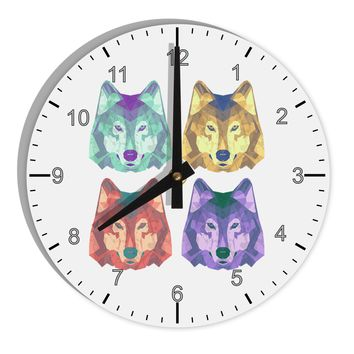 "Geometric Wolf Head Pop Art 8"" Round Wall Clock with Numbers by TooLoud"