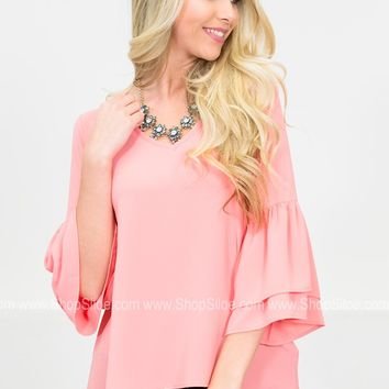 Fresh Coral Sheer Top