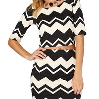 Chevron Brushed Elbow Sleeve Crop Top | rue21