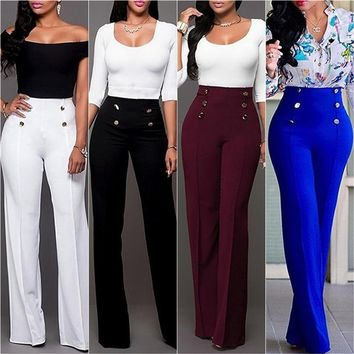 New Women Fashion Wide Leg Pants Strech Trousers Ladies Flared Trousers Loose Pants High Waist Slacks Female Solid Color Suit Pa