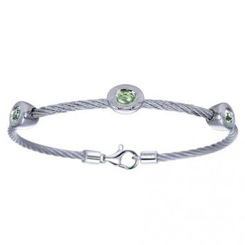 Gabriel Oval Cut Green Amethyst Stainless Steel Cable Bangle Bracelet