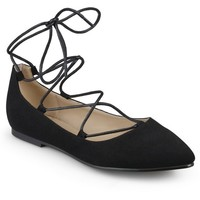 Women's Journee Collection Fiona Lace-up Pointed Toe Ballet Flats - Black 8 : Target