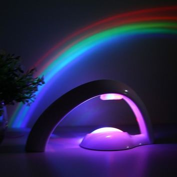 Dual Mode LED Colorful Rainbow Night Light Projector Lamp