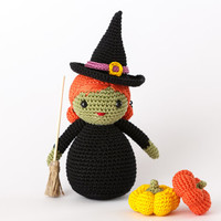 Halloween Witch Amigurumi Toy - Crochet Doll Halloween, Halloween Toy Plush, Witch Stuffed Toy, Halloween Decor