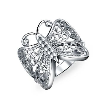 Boho Filigree Wide Butterfly Band Ring For Teen 925 Sterling Silver