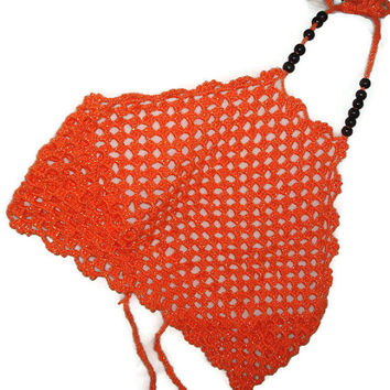 Orange Halter Top Sexy Crochet Bikini Hippie Festival Top Beach Halter Tank Top Hippie Knit Sexy Bustier Neon Orange Crochet Tankini Bikini