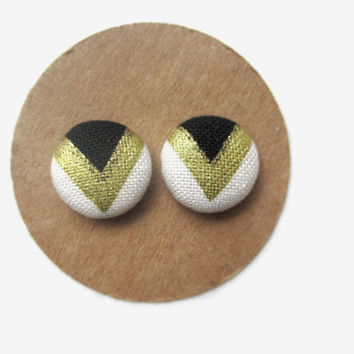 Black Gold White Chevron Earrings // Black // Gold // Chevron // Fabric Button // Fall Studs // Metallic // Tribal // Ethnic // Arrows //