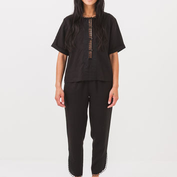 Rodebjer Black Raw Top