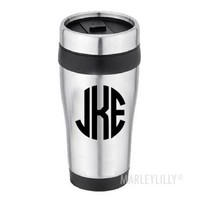 Monogrammed Stainless No Handle Travel Coffee Mug | Marley Lilly