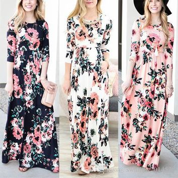 Women's Fashion Spring 3/4 Sleeve Classic Rose Maxi Dresses Long Sleeve Skirt Casual Dresses Multicolor