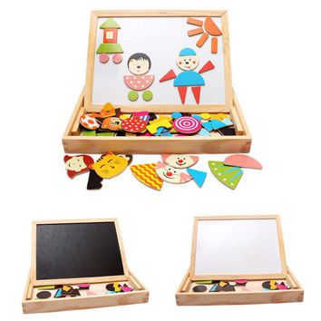 Figure Statue Puzzle Multifunctional Drawing Writing Board Magnetic Puzzle Double Easel Toys for children kids toy