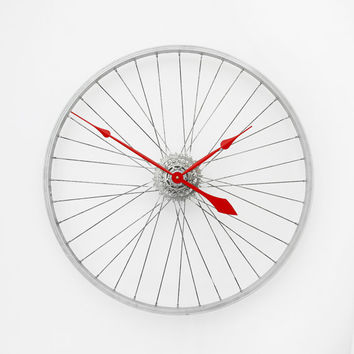 Bicycle Wheel Clock, Large Wall Clock, Bicycle Clock, Bike Clock, Unique Wall Clocks, Cycling Gift, Industrial Wall Clock, Wheel Clock