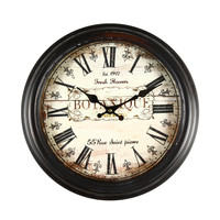"Adeco Antique Look Brown, Round Wall Hanging Clock ""Botanique"" Roman Numerals Home Decor"