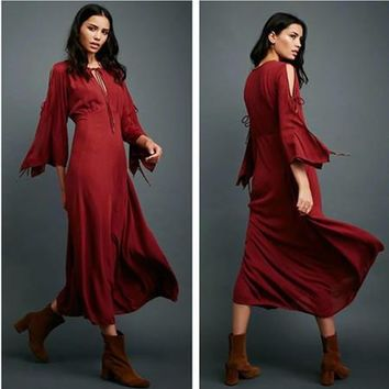 Free People Fashion Solid Color Retro Hollow Strappy Long Sleeve Maxi Dress
