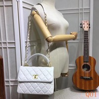 HCXX 19Aug 112 92236A Fashion Embossing Flap Chain Handle Large-capacity Quilted Bag 25-12-17CM White